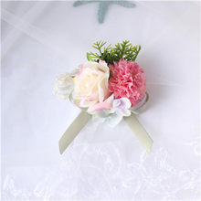 YO CHO высшего класса брошь подружки невесты искусственный шелк Роза Корсаж платье аксессуары свадебное запястье цветок для мужчин и женщин(Китай)