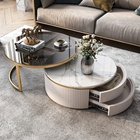 Foshan Jieshi Luxury Furniture Gold Stainless Steel Frame Sectional Coffee Table