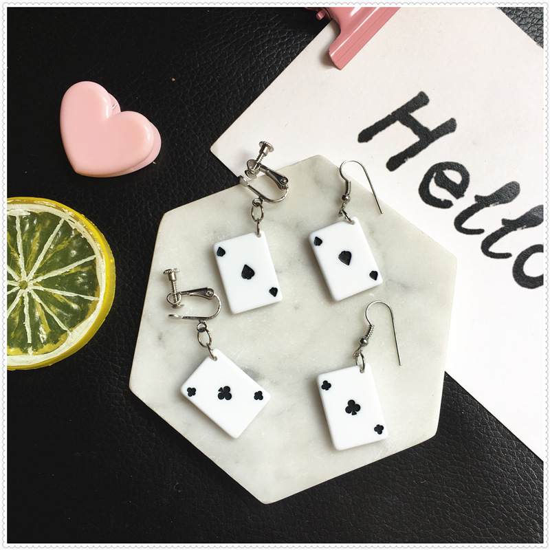 Personality hip hop accessories creative funny playing cards earrings Ace ear clips customizable 925 silver ear hook