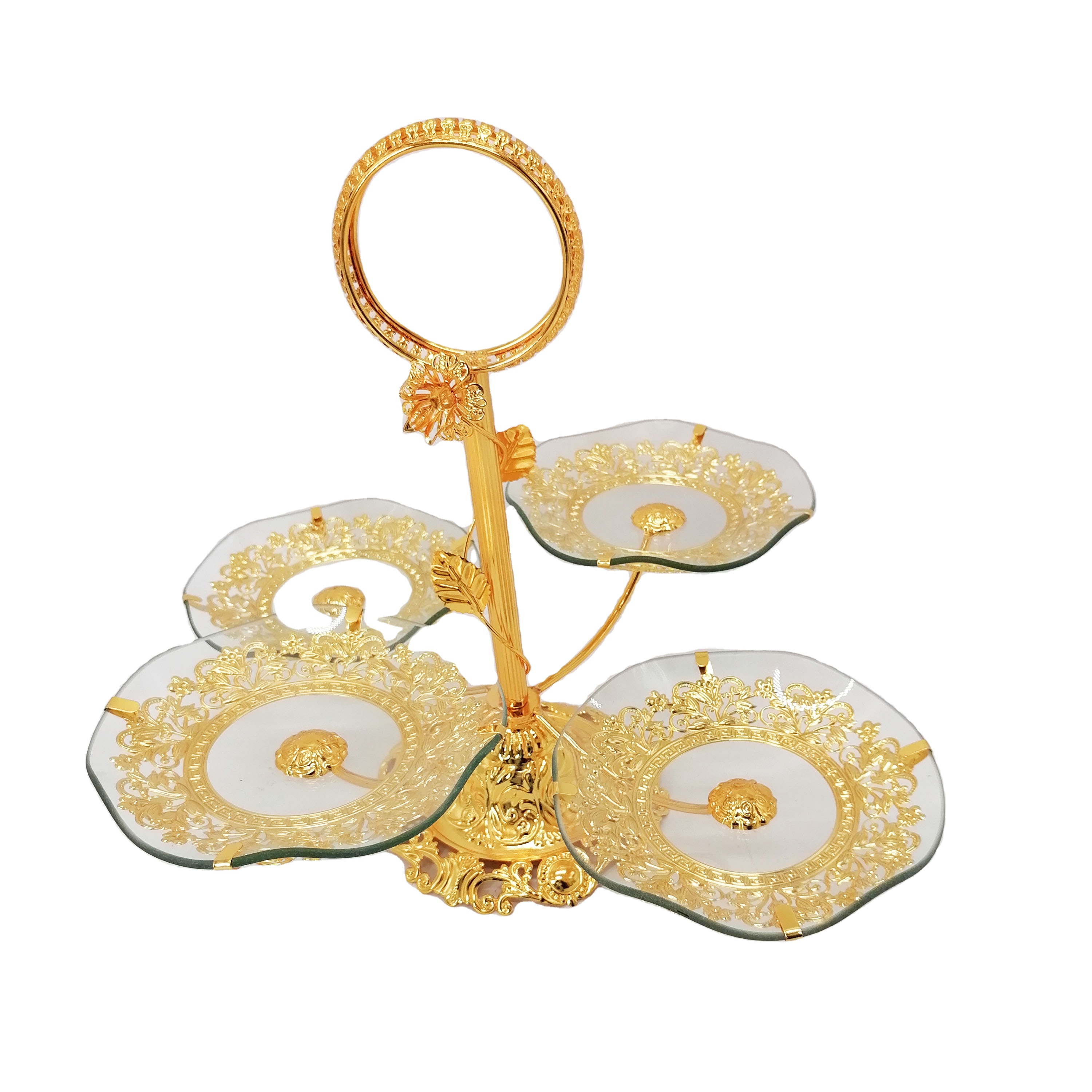 4 tire metal glass gold cake stands for wedding cakes decorative display with dome