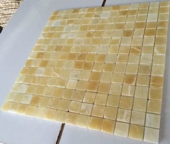 Gold yellow honey onyx mosaic tile for swimming pool
