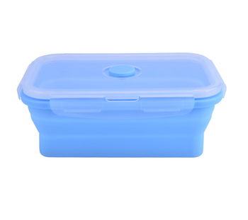 Square Bpa Free Silicone Folding Leak Proof Collapsible Silicone Airtight Food Bento Lunch box