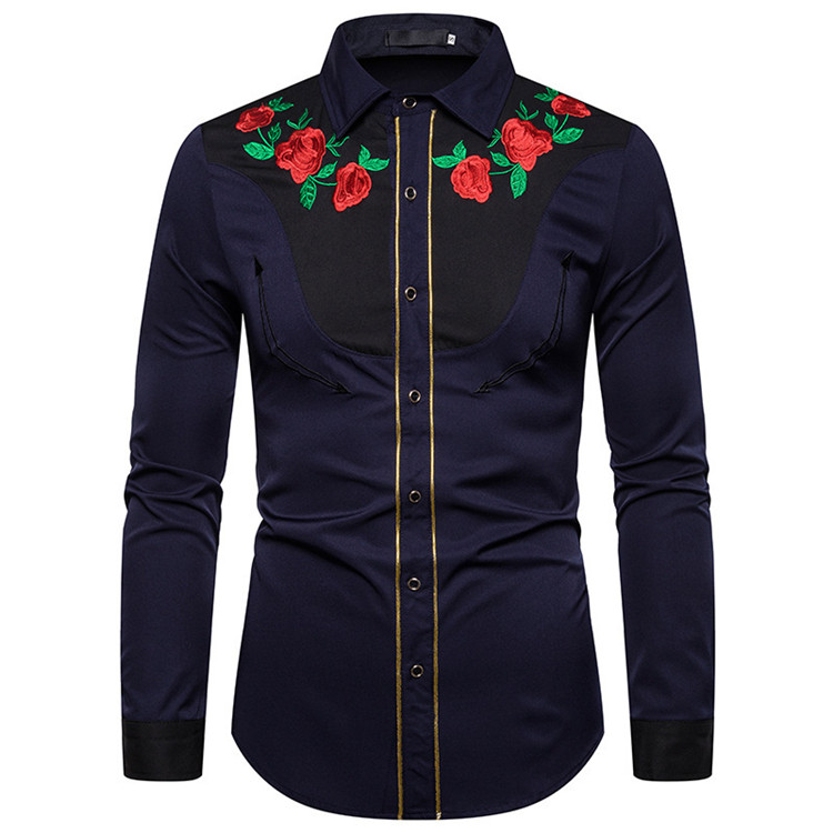 Manufacture unisex men women western rose embroidery long sleeve shirt
