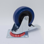 4 Inch Industrial Rigid Caster With Blue Elastic Rubber Wheel