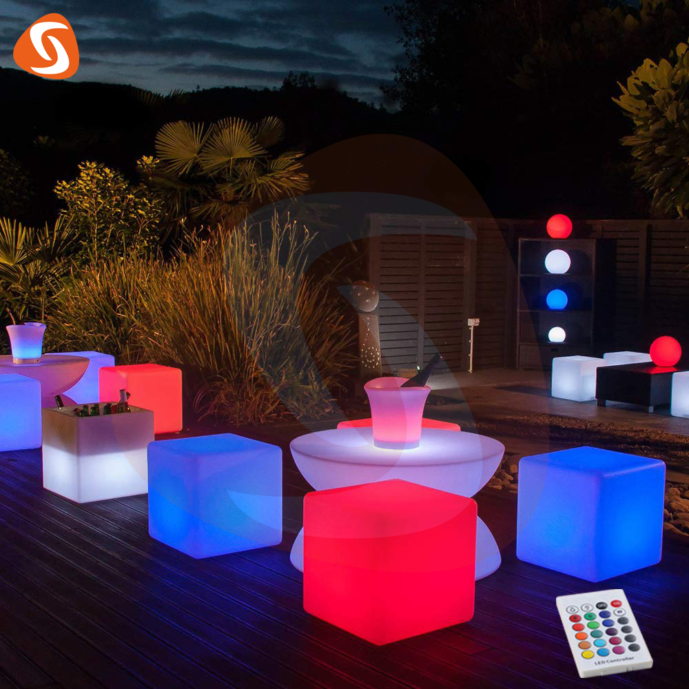 Shijia 방수 독특한 크기 야외 나이트 클럽 글로우 조명 led 큐브 가구 파티