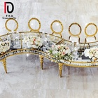 Party Event Clear Glass top Half Moon Crystal Wedding Dinning Table