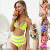 Latest Women High Waist Bikini,White Pom Pom Mesh Insert Swimwear Women Sexy Bikini,Fashion Women Bikini