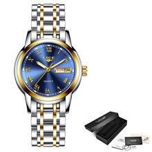 LIGE роскошные женские часы, женские водонепроницаемые часы с ремешком из розового золота и стали, женские наручные часы, Топ бренд, часы-брас...(Китай)