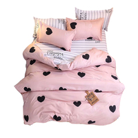Hot sale 100% polyester bedding set with small heart printing