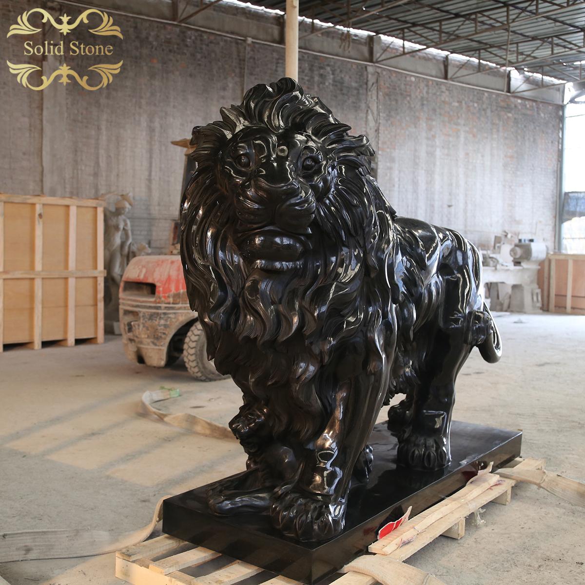 High end custom design western style black granite stone lion sculpture