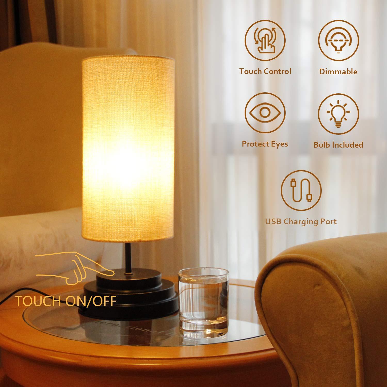 ที่อยู่อาศัยโคมไฟข้างเตียง USB port touch dimmable โคมไฟตั้งโต๊ะ usb