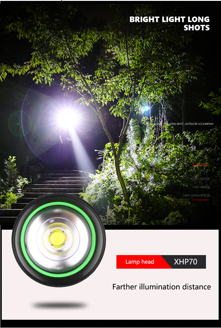 High lumen military grade flashlight 20w 3000lm Xhp70 Hunting Japan High Power Torch Light 2km Distance Flashlight