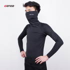 High quality lycra compression shirts Black pure color gym tshirts men Turtleneck shirt long sleeves Men's T-Shirts