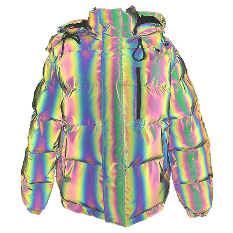 Cotton สีสะท้อนแสง Bubble Coat Winter Rainbow PUFFER แจ็คเก็ต