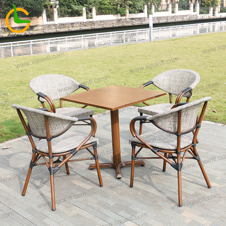 High quality rust resistant aluminum woven french restaurant outdoor cafe chair(accept customized)