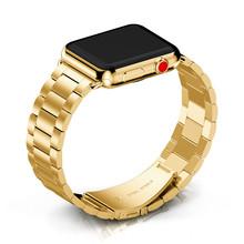 Металлический ремешок из нержавеющей стали для Apple Watch 44 мм, Браслет-звенья iWatch серии 5 4 3 2 40 мм, браслет 42 мм 38 мм, замена(Китай)