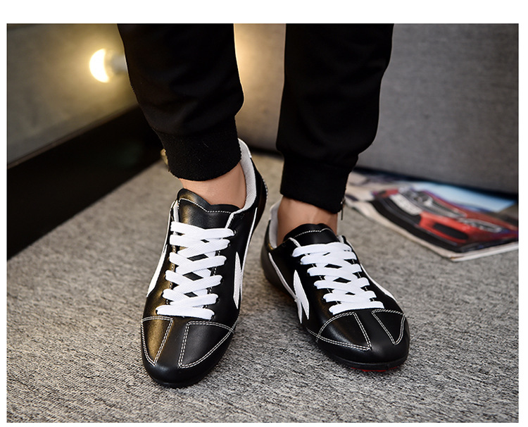 Factory black blue color pu leather flat casual men running shoes