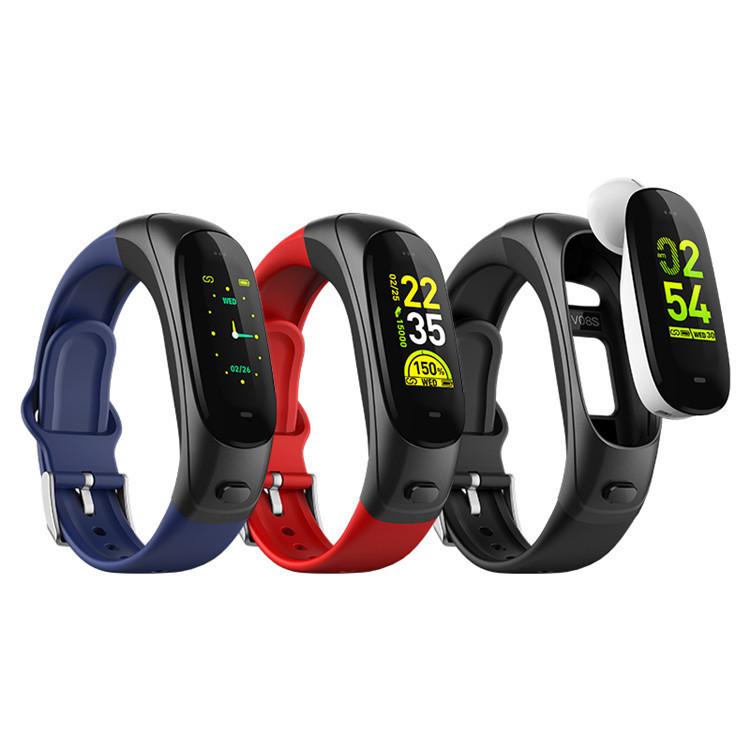 Custom OEM talk band smart bracelet earbuds HR BR sport mode fitness tracker with tws bluetooth earphone R & D team