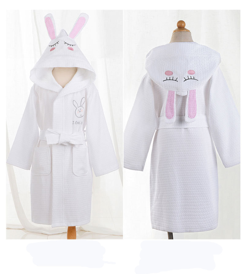 Hotel Linen Customised Pink Fluffy Bathrobe Hotel Waffle Logo