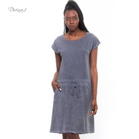 Factory Made Women Summer Solid Plain Drawstring Waist Linen Dress from Italy