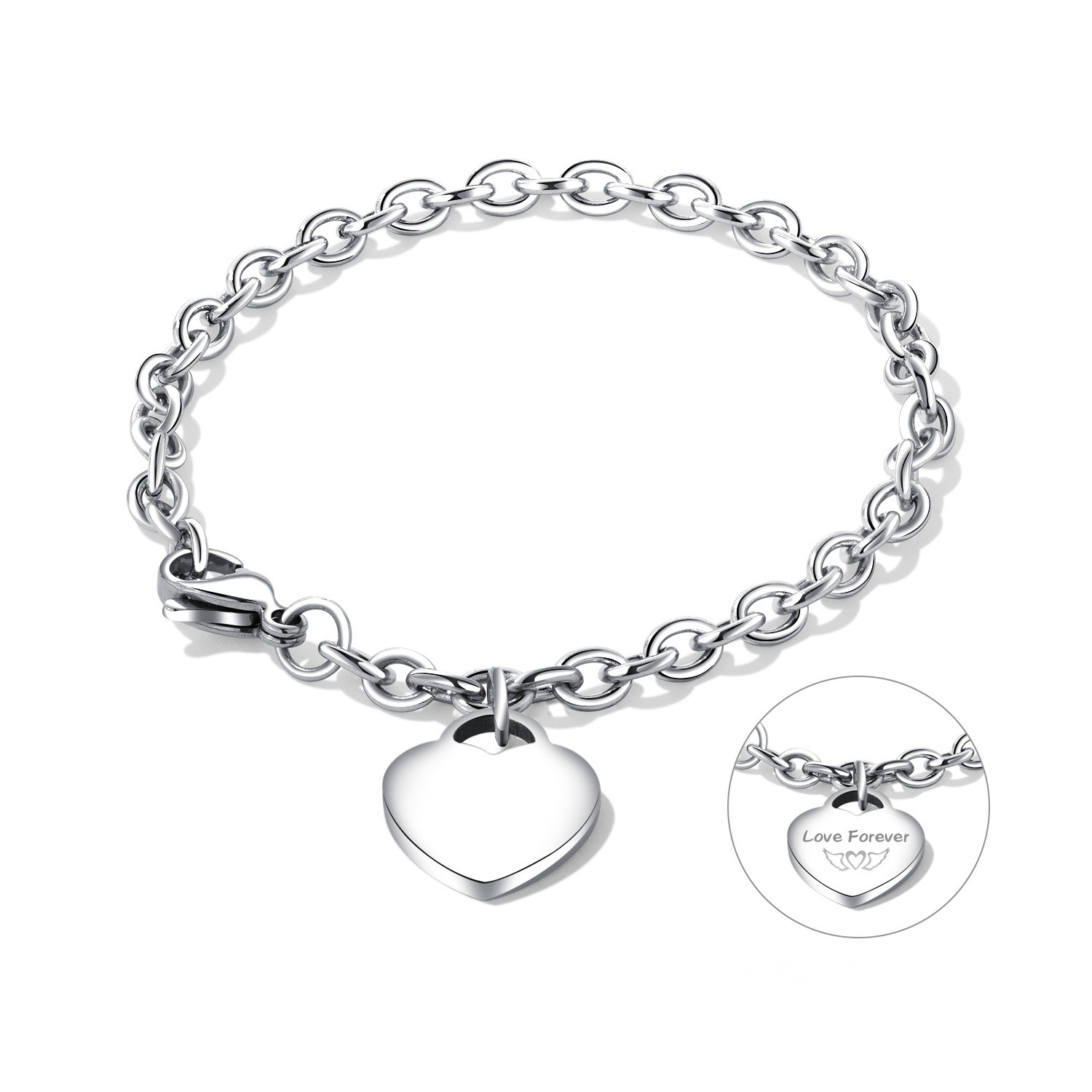 Fashion Design Custom Stainless Steel Couple Bangle Lettering Heart Star Pendant Chain Link Bracelets For Couple
