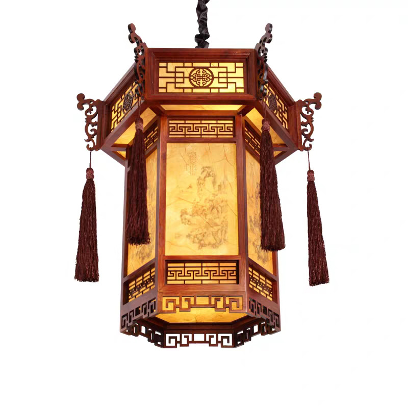 Ancient Chinese style LED lantern bedroom living room suspended lamp