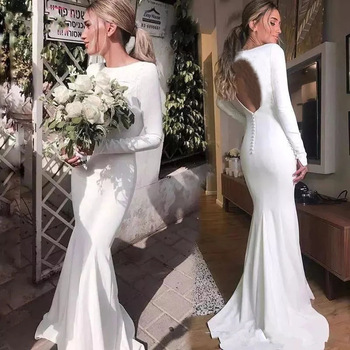 Cheap Simple Mermaid Plain Satin Wedding Dresses Bridal Gown With Long Sleeve Buy Satin Wedding Dress Mermaid Satin Wedding Dress Long Sleeve Wedding Dress Satin Product On Alibaba Com,Plus Size Dresses For Wedding Guest Summer