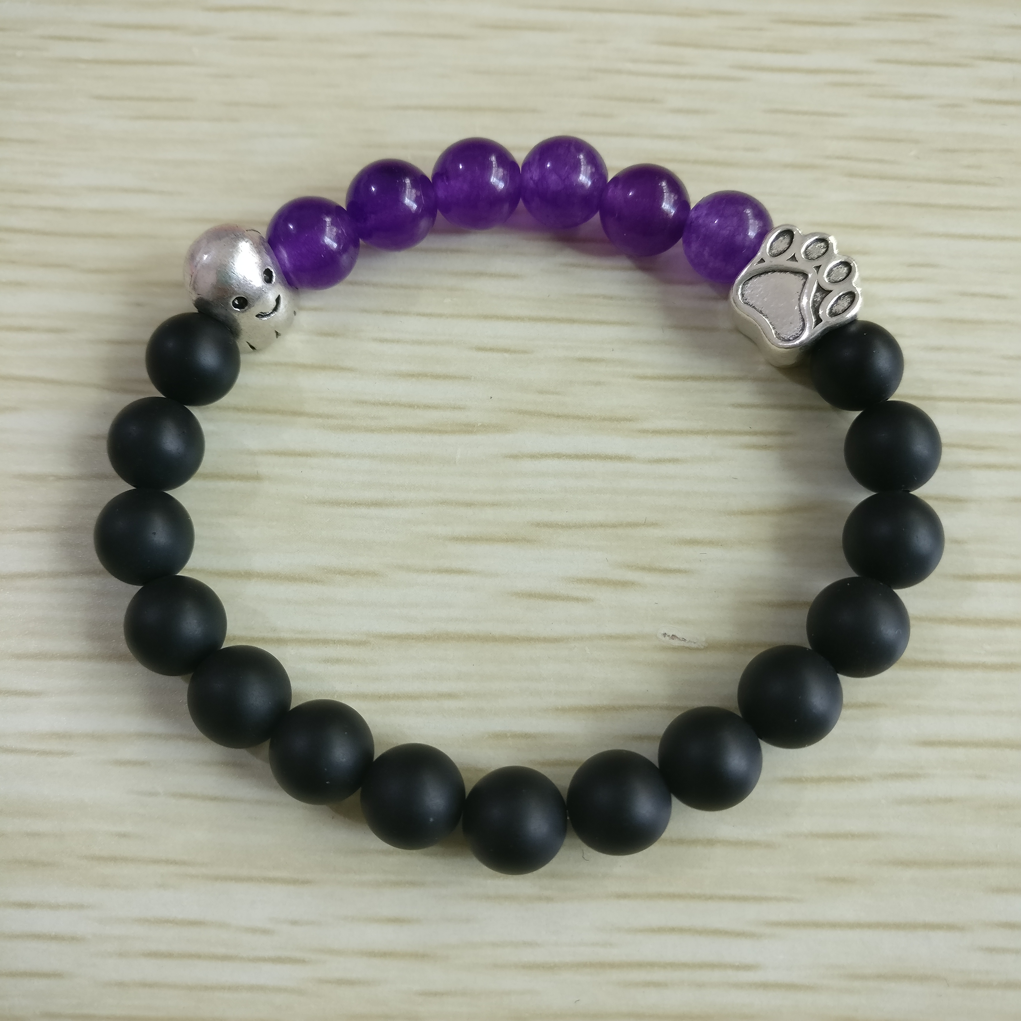 2019 New Arrivals Halloween 8mm Onyx Purple Beads Silver Pet Paws Ghost Elastic Bracelet