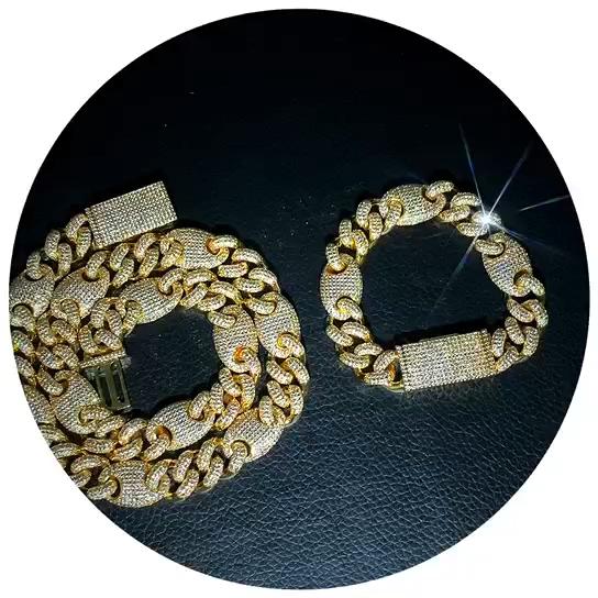 New Brass 12 Mét Cuba Liên Kết Chuỗi Choker Necklace Set Cuba Kim Cương Chuỗi Vòng Đeo Tay Vàng & Trắng Vàng Bộ Trang Sức