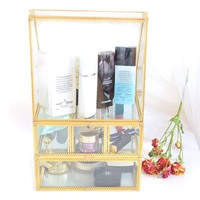 gold clear box case with drawer storage brush cosmetic holder organizer makeup