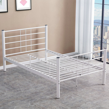 White simple modern design all iron metal double bed frame