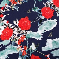 Make to order navy shirt woven flower design 100 percent rayon fabric for dress