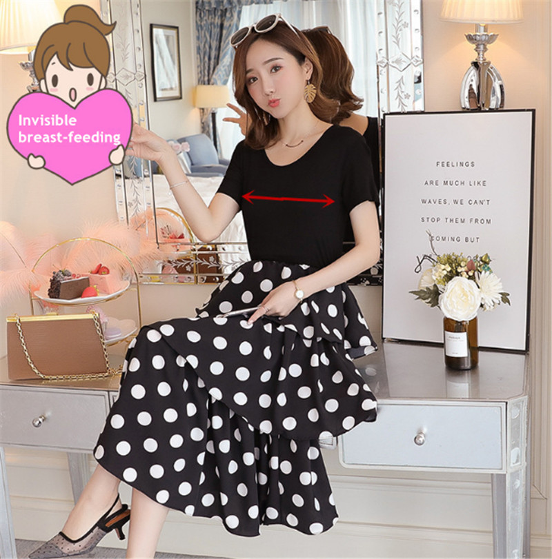 <strong>Maternity</strong> Wear 2020 Summer Korean Slim Cake Skirt Wave Point Fake Two Piece Breastfeeding <strong>Dress</strong>