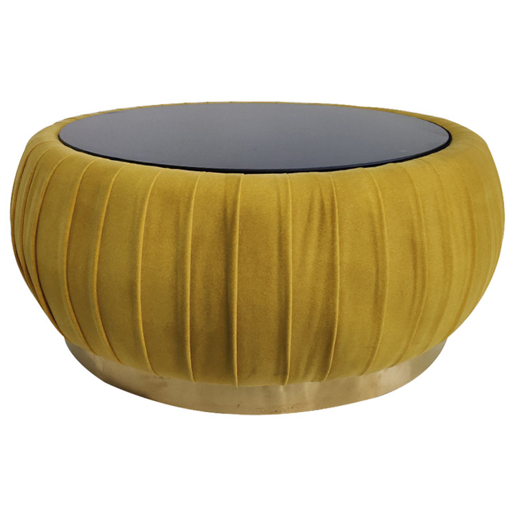 Durable Round Ottoman Stool, Modern Design Yellow Foot Stool