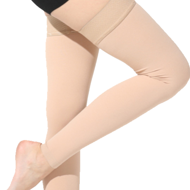Varicose veins thigh high silicon anti embolism medical compression stocking with open toe