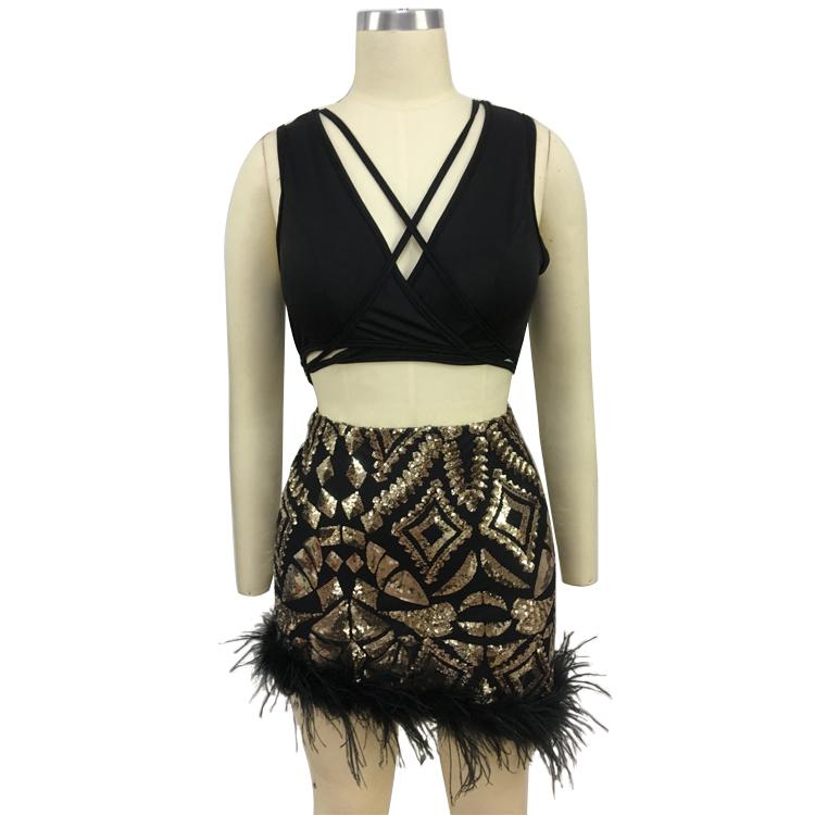 女性の夏のセクシーなナイトクラブスカートツーピースセットスパンコールマッチングダチョウの毛ニットスーツ