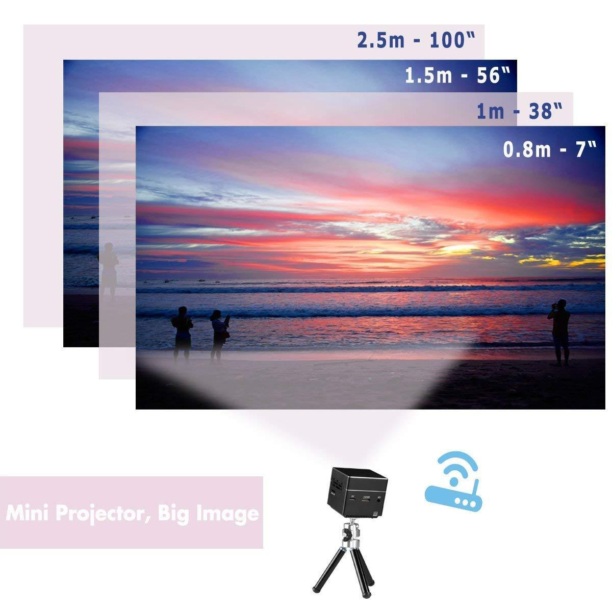 Mini Portable Projector Android HD 1080P DLP LED Pico Projector Bright High Lumens Home Theater Wi-Fi Phone