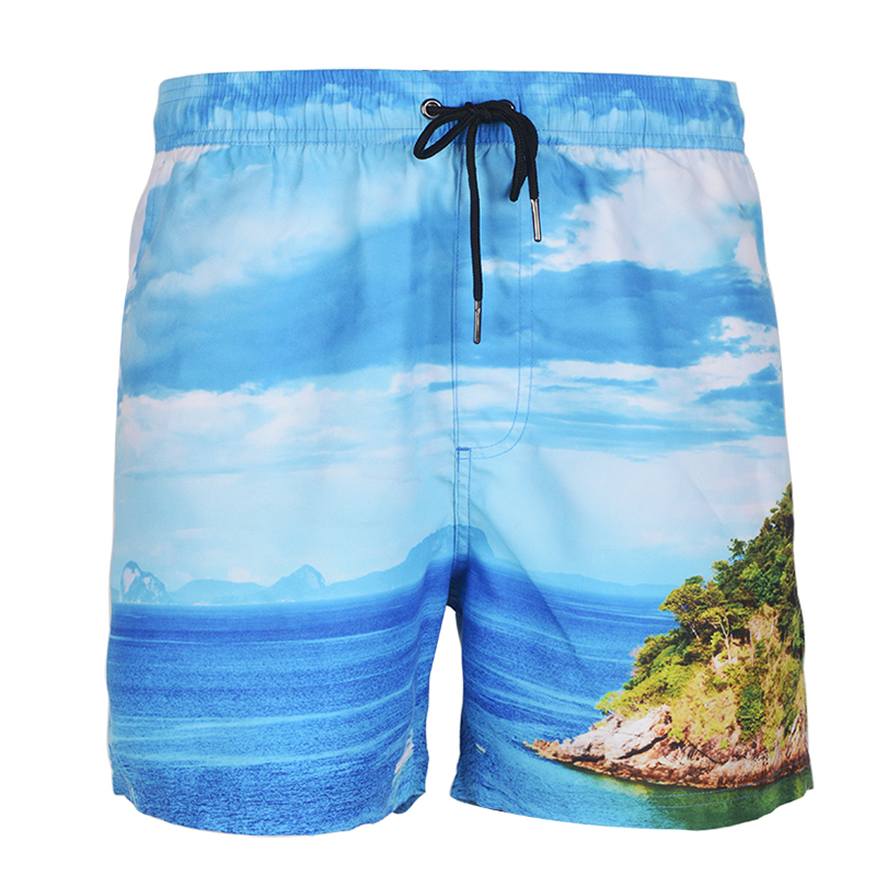 Yuepai Sublimation printing Customized Board Shorts Recycled Polyester 4 Way Stretch Beach Wear Shorts For Men and Women