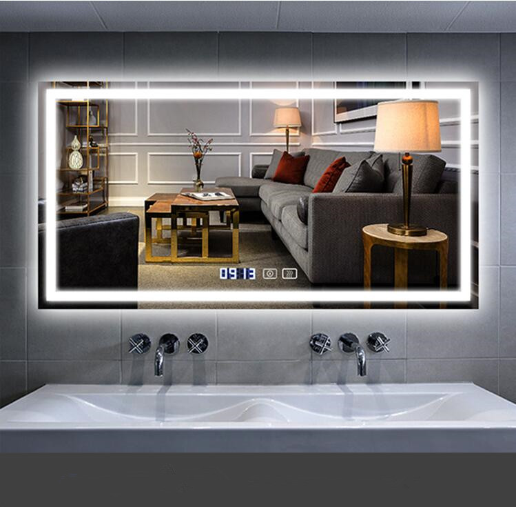 2020 modern style hotel bathroom mirror with led lights Anti fog Time display Bluetooth smart mirror