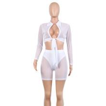 Simenual, сетчатые прозрачные сексуальные женские комплекты, повязки, модные, горячие, с длинным рукавом, две части, наряды, короткий топ и Байке...(Китай)