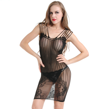 Cheap Free Size Women Sexy Nude Babydoll Transparent Lingerie Black