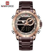 NAVIFORCE мужские часы 2020 Роскошные Спортивные кварцевые наручные часы с двойным дисплеем мужские водонепроницаемые аналоговые часы-будильник...(China)