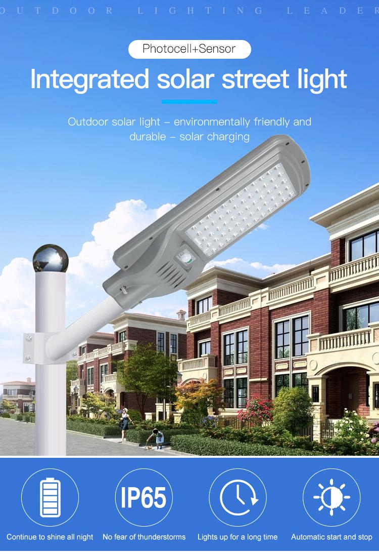 Yüksek güç topluluk yol ip65 su geçirmez açık 100w 200w 300w entegre hepsi bir güneş led sokak lambası