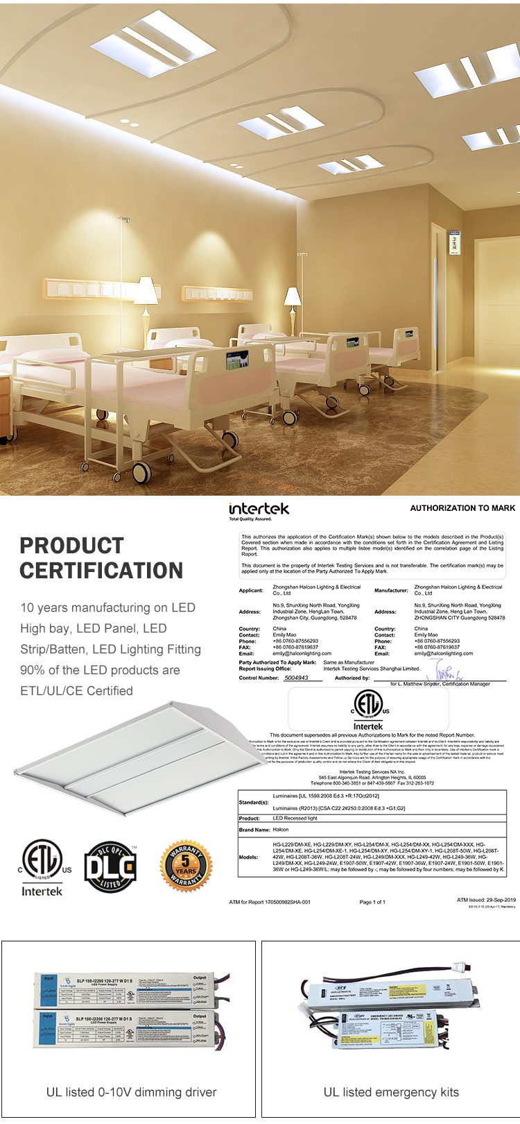 Energy conservation hospital hotel 27 36 40 50 w led troffer panel light