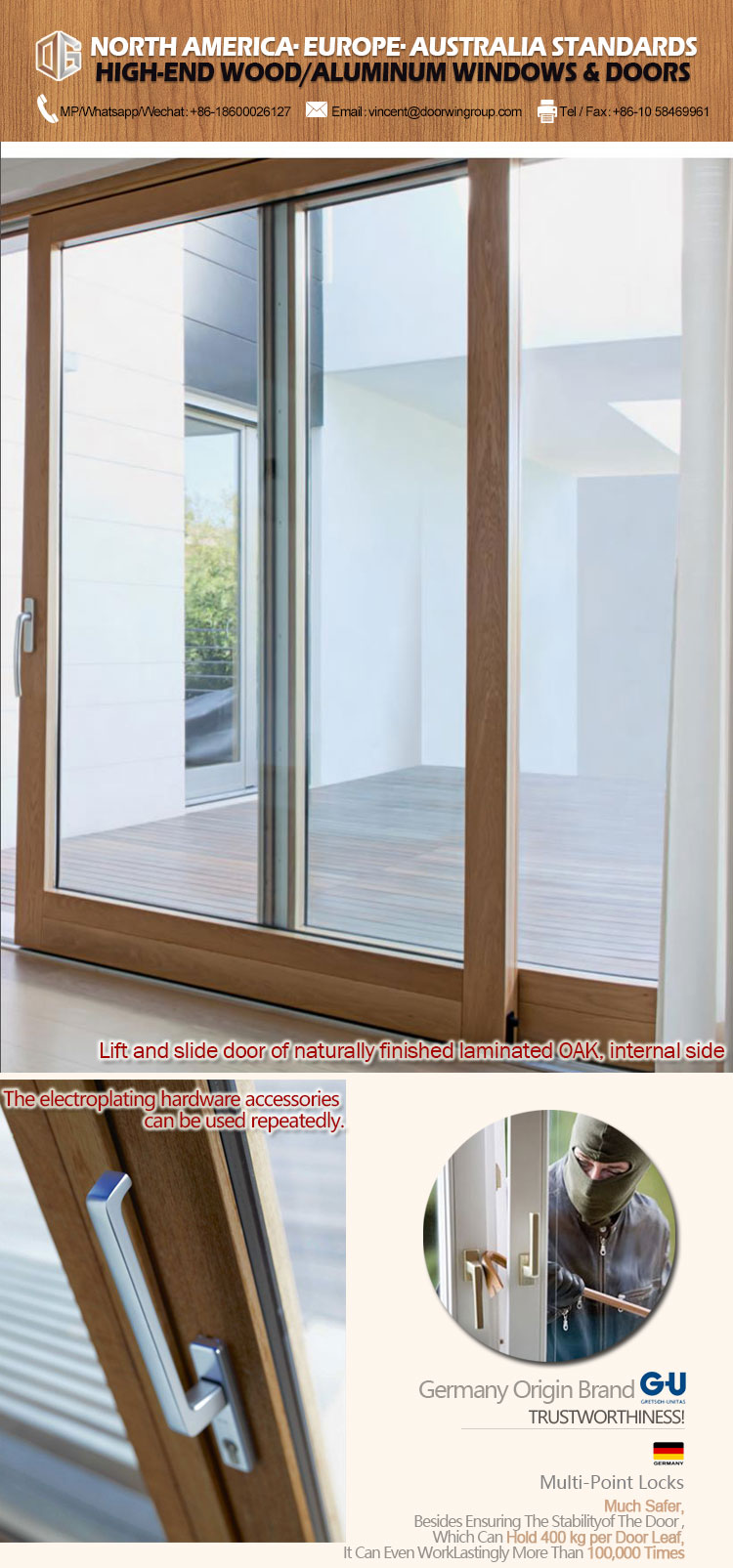 High quality exterior sliding patio doors internal blinds door with built in shade