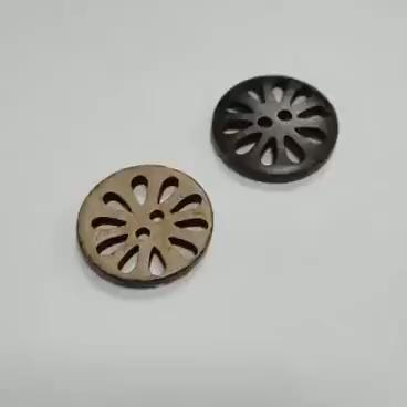 Designer personalizado Forma da Flor Do Vintage Camisa 2 Buracos Botão up Bom Preço Reciclado Gravado Botão de Casca de Coco Natural Para As Mulheres