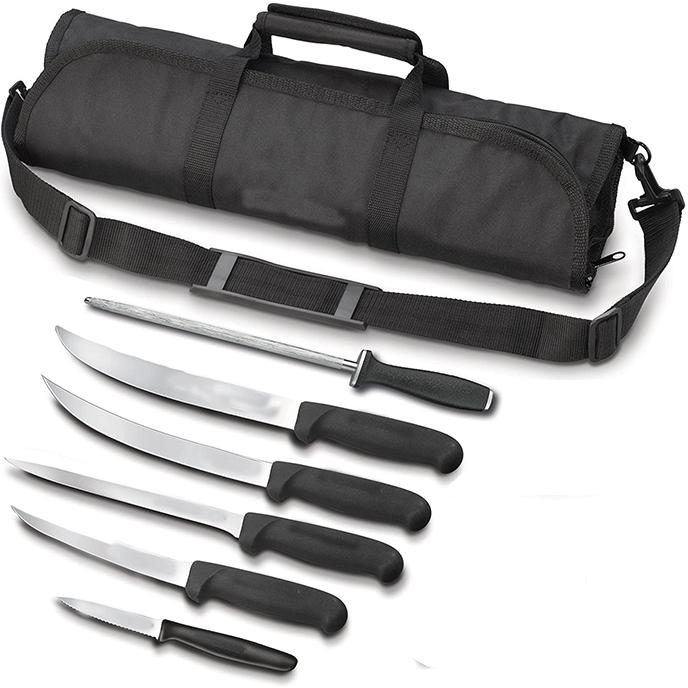 8pcs bbq set tool 18 pcs black kitchen chef knife with case master kit set roll bag