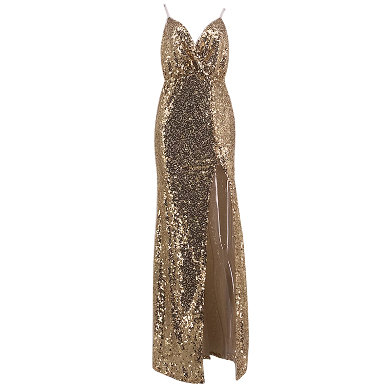 Luxus Gold Pailletten Sexy V-ausschnitt Perlen Spaghetti Strap Kleid Prom Cocktail Party Abendkleider