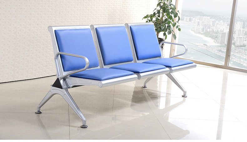 Three seat hospital waiting chair airport chair with leather cushion