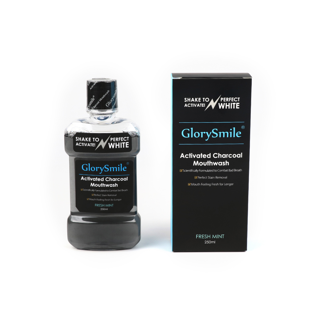 GlorySmile 250ml Natural Breath Fresher Stain Remover Activated Charcoal Teeth Cleaning Mouth Wash New